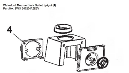 Replacement Back Outlet Spigot Black Enamel for Waterford