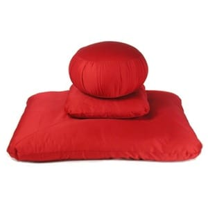 Kapok Zafu Meditation Cushion Set Deluxe RED