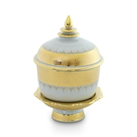 "Ceramic Offering Bowl with Pedestal and Lid | Gold Drip Design | 4.5"" high"