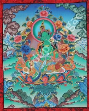 Green Tara Tibetan Thangka