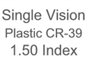 Single Vision Plastic CR-39 1.50 Index Aspheric (Custom)