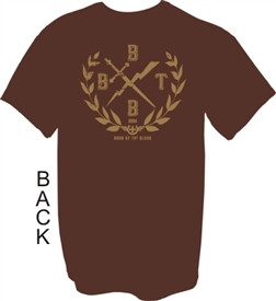 Born By The Blood Crest Christian T-Shirt in Brown