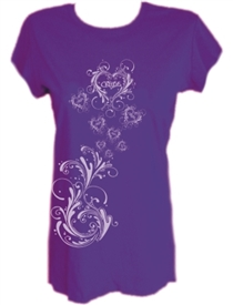 Purple Glitter Heart Ladies Purple Christian Top