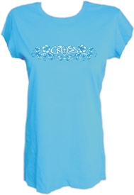 Hibiscus Flower Ladies Ocean Blue Christian Top