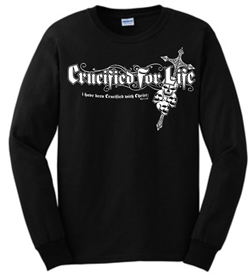 Crucified for Life Skull Cross Long Sleeve Christian T-Shirt