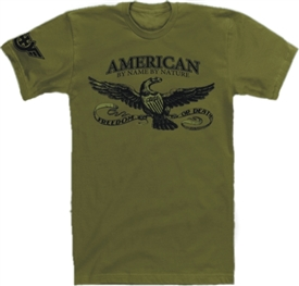 American By Name By Nature T-Shirt in Military Green