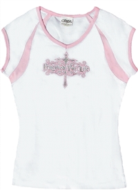 Crucified for Life Juniors Christian Top in White