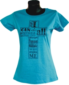 I Can Do All Things Ladies Christian Top in Cobalt Blue