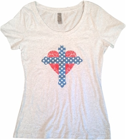 Star Cross and Lace Heart Scoop Neck T-ee