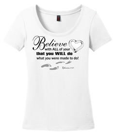 Believe With All Your Heart Scoop Neck Tee White