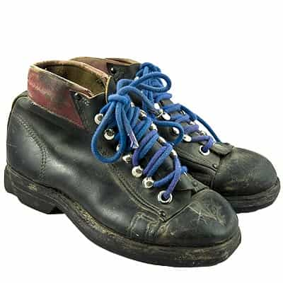 1940s Leather Ski Boots with Blue Laces