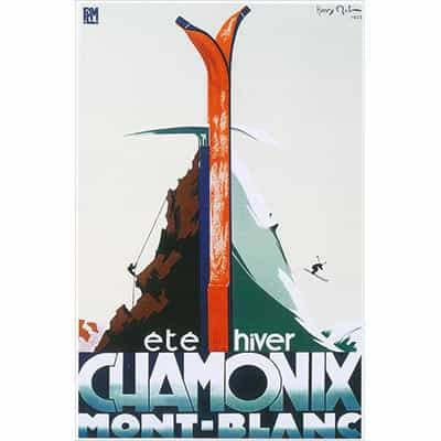 Chamonix Ice Axe and Skis Postcard