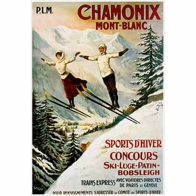 Chamonix 2 Ski Jumpers Postcard
