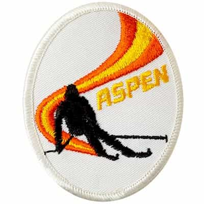 Aspen Skier Downhill White Vintage Ski Patch