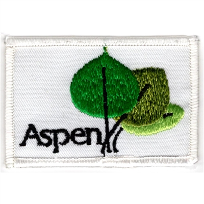 Aspen Embroidered Ski Patch White with 3 Aspen Leaves
