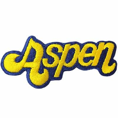 Aspen Vintage Ski Patch Yellow on Blue