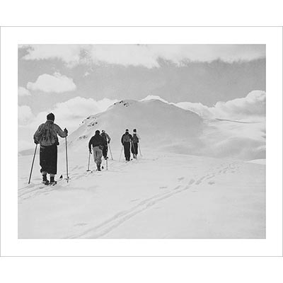 1940s Skinning up the Canadian Rockies Black and White Photo 8 x 10 inches, 11 x 14 inches