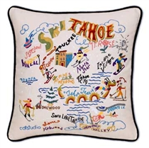 Ski Tahoe Throw Pillow, with Black Velvet Piping, 19 x 19 in