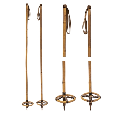 1930s Spotted Bamboo Vintage Ski Poles with Bamboo and Leather Baskets.