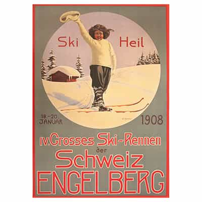 Beekley Vintage Swiss Art Deco Ski Poster Collection - Ski Heil 1908