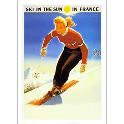 Ski In The Sun In France Ski Poster - 27.5 x 39.5 inches
