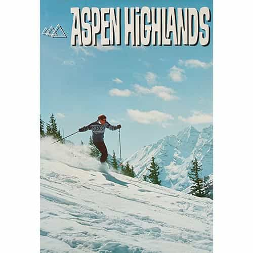 Aspen Highlands Original Ski Poster 1960s