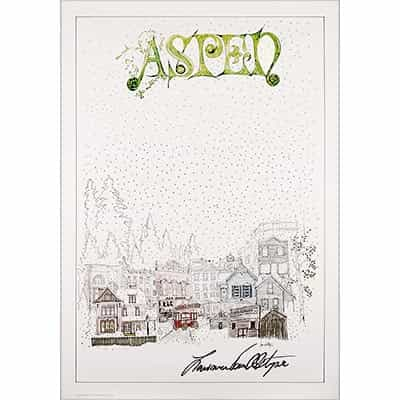 Aspen Town 1977 Original Poster, Signed by Larry Van Alstyne