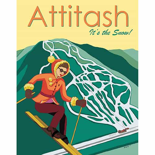 Attitash New Hampshire Ski Area Vintage Art Deco Ski Poster