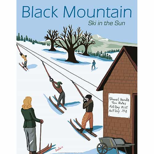Black Mountain Ski Area Vintage Art Deco Ski Poster