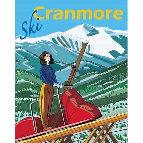 Mount Cranmore New Hampshire Vintage Art Deco Ski Poster