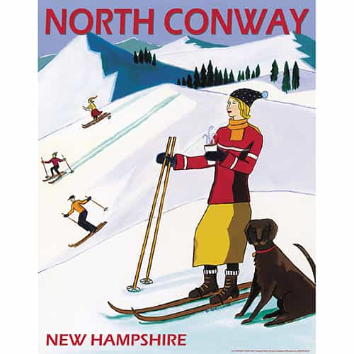 North Conway New Hampshire Vintage Art Deco Ski Poster