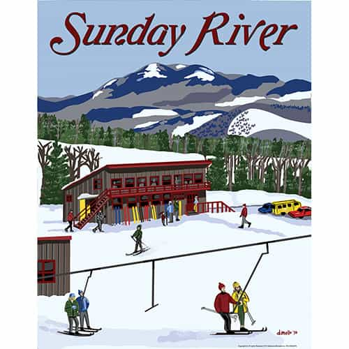 Sunday River Maine Vintage Art Deco Ski Poster