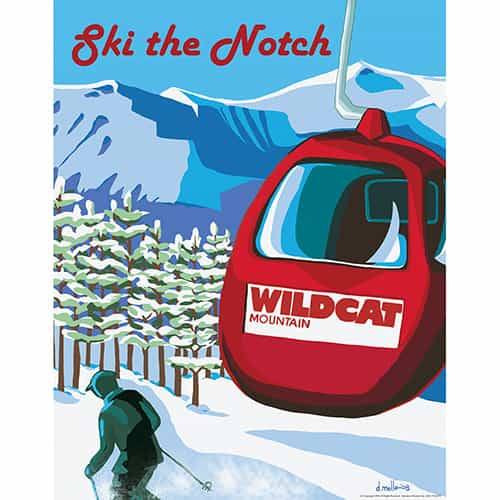 Wildcat Mountain New Hampshire Vintage Art Deco Ski Poster