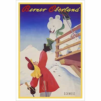 Berner Oberlands Welcoming Friendly Bear Ski Poster