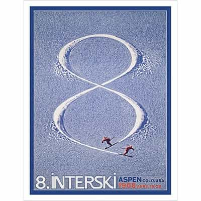 Aspen 1968 Interski Poster by Herbert Bayer, Size 20 x 30 inches