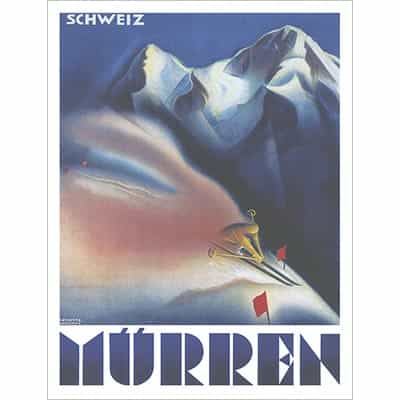 Murren Switzerland Vintage Ski Poster