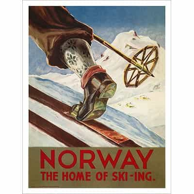 Norway the Home of  Skiing Poster, 20 x 30 in
