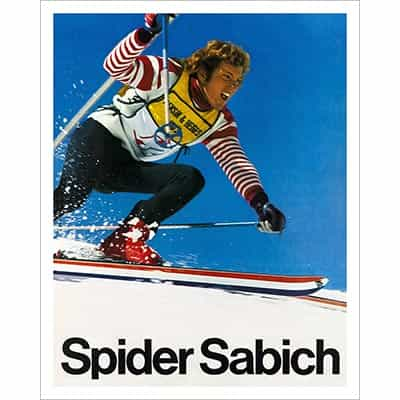 Spider Sabich Racing on his K2s in the Benson & Hedges sponsored World Pro Ski Tour