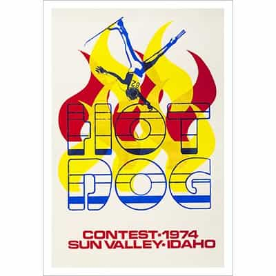 Sun Valley 1974 Hot Dog Skiing Contest Vintage Ski Poster