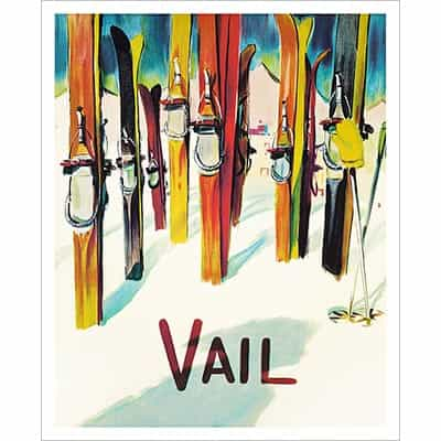 Vail Vintage Art Deco Skis Poster