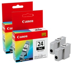 Canon BCI-24BK 2-Pack Genuine Black Inkjet Ink Cartridge 6881A022