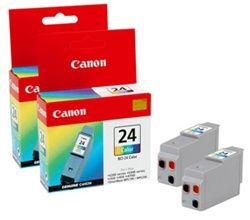 Canon BCI-24C 2-Pack Genuine Tri-Color Inkjet Ink Cartridge 6882A003AA