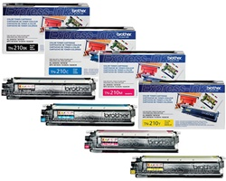 Brother TN210BK, TN210C, TN210M, TN210Y Genuine/ OEM Toner Cartridges