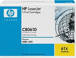 HP C8061X , 61X Genuine Toner Cartridge Combo C8061D