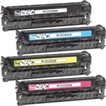 HP CC530A-3A 4-Pack Color Toner Cartridge Combo