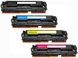 HP CE410X, CE411A-3A 4-Pack Compatible Toner Combo