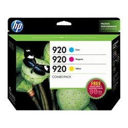 HP #920 3-Pack Genuine Ink Cartridge Combo B3B30FN