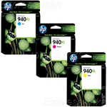 HP 940XL 3-Pack Genuine Ink Cartridge Combo