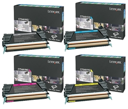 Lexmark C734 Genuine 4-Pack Toner Cartridge Combo