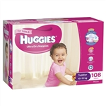 Huggies Toddler Girl Nappies (10-15 kg) Bulk - 108 nappies